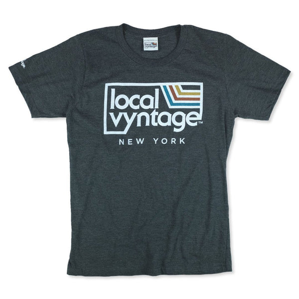 Local Vyntage New York Logo T-Shirt Front Dark Gray
