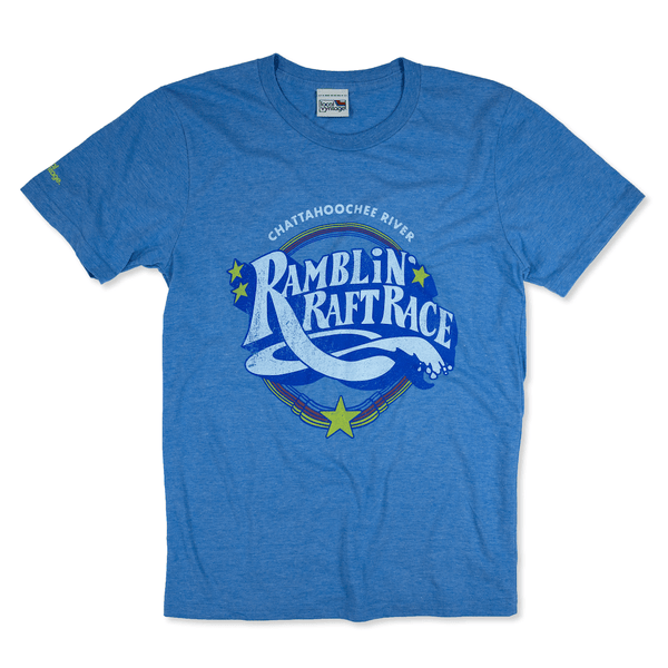 Shootin' The Hooch Ramblin' Raft Race Atlanta T-Shirt Front Royal Blue