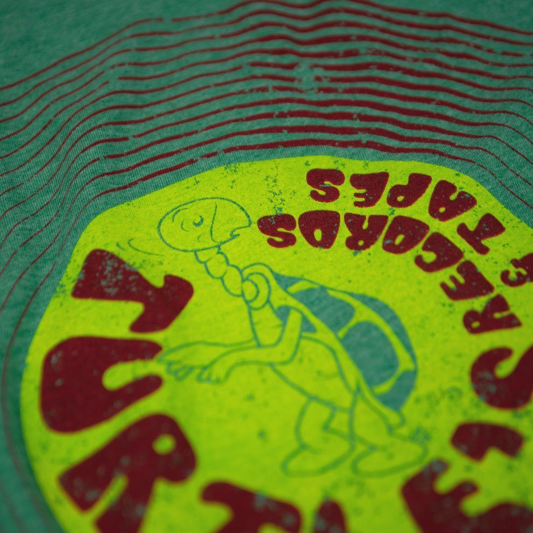 Turtle's Records And Tapes T-Shirt Detail Faded Green