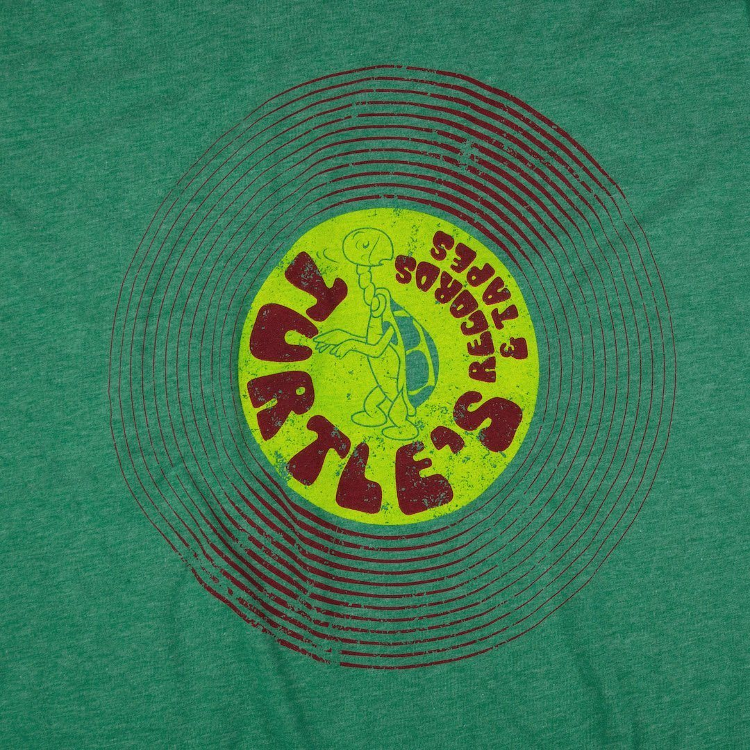 Turtle's Records And Tapes T-Shirt Graphic Faded Green