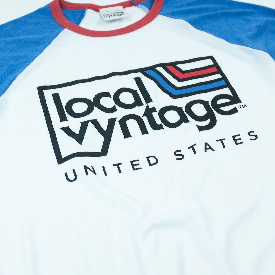 Local Vyntage USA T-Shirt Angle White With Blue And Red