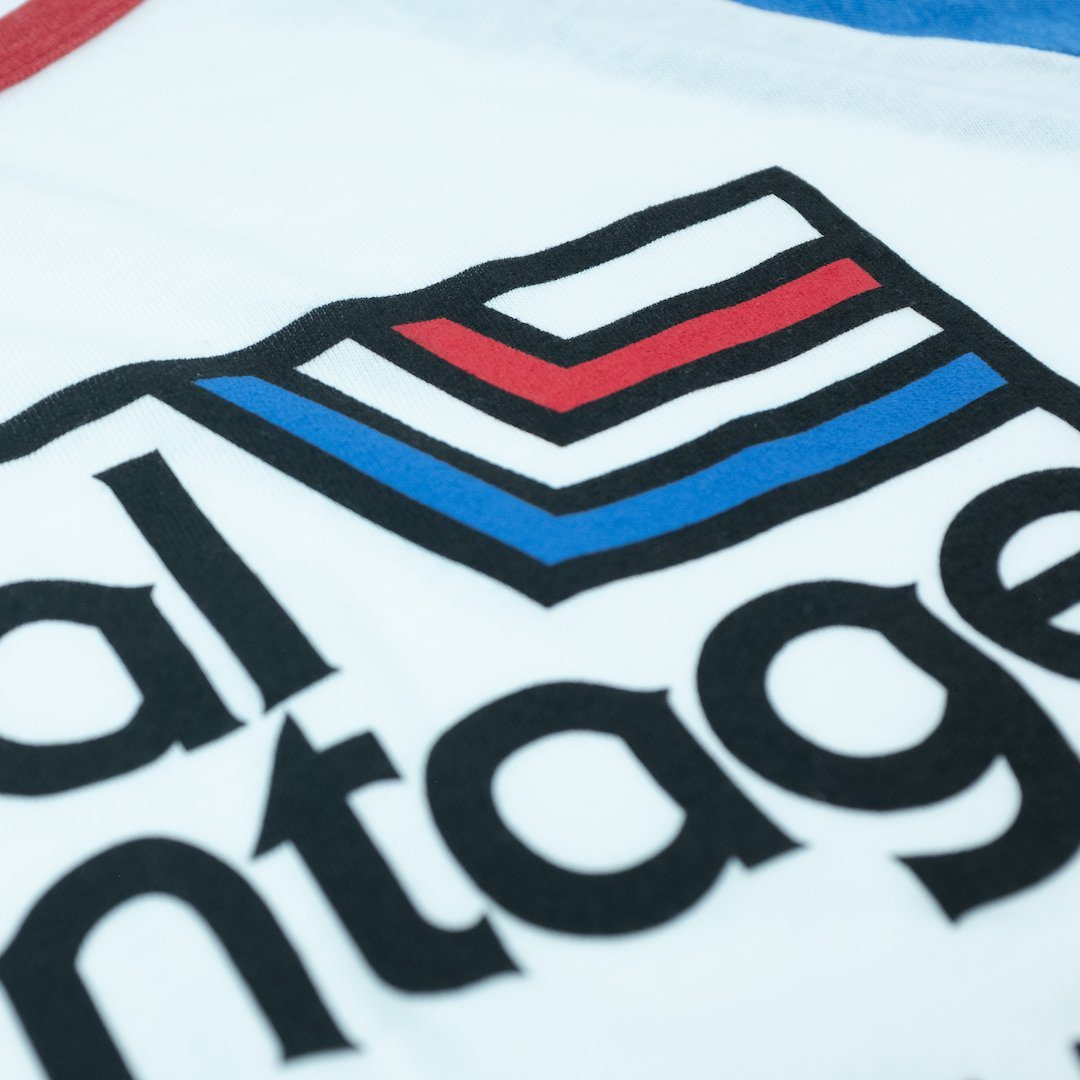 Local Vyntage USA T-Shirt Detail White With Blue And Red