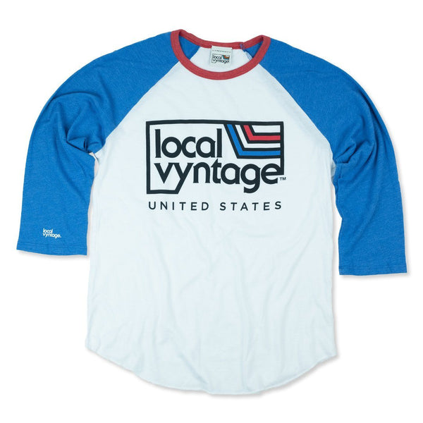 Local Vyntage USA T-Shirt Front White With Blue And Red