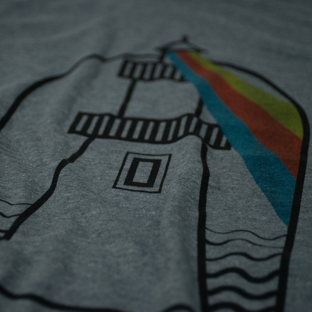 USA Lighthouses T-Shirt Detail Gray