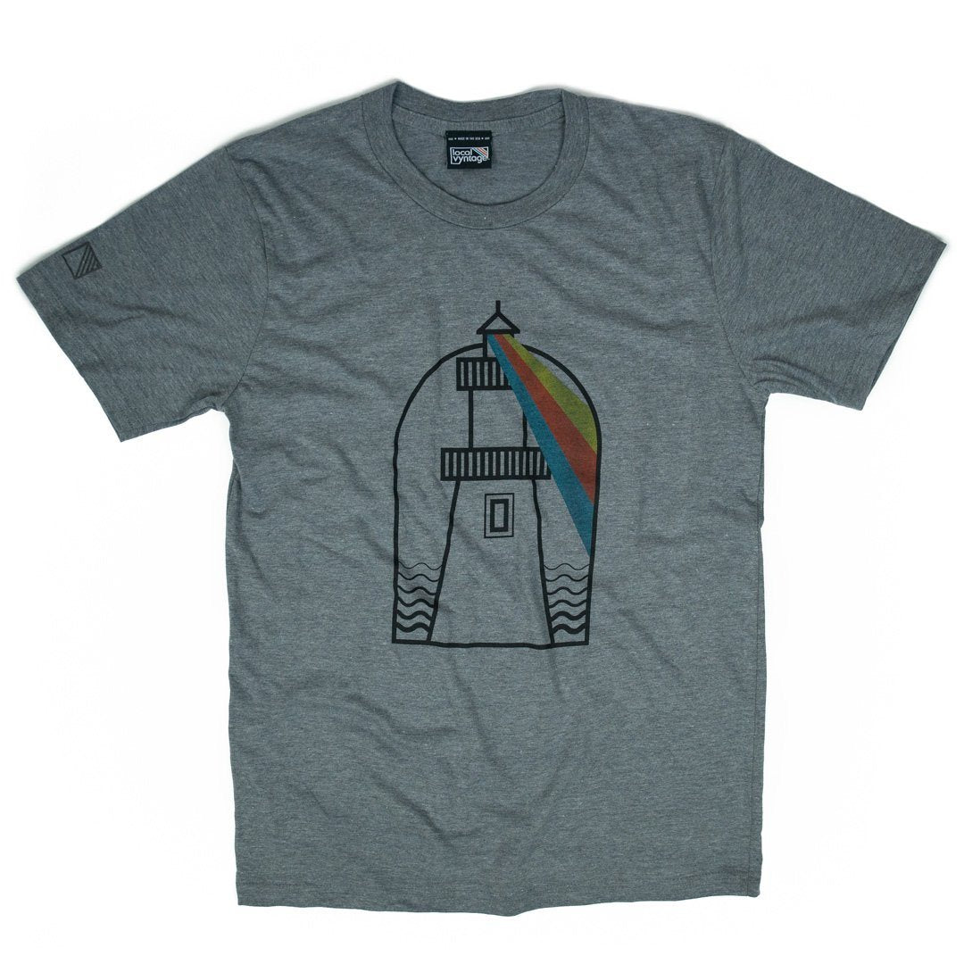USA Lighthouses T-Shirt Front Gray