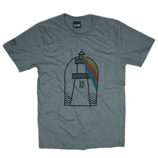 USA Lighthouses T-Shirt Front Gray Men's