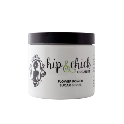 flower power sugar body scrub - pomegranate, gardenia, organic natural