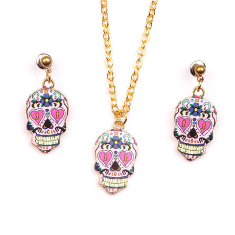Sugar Skull Necklace + Earrings Set