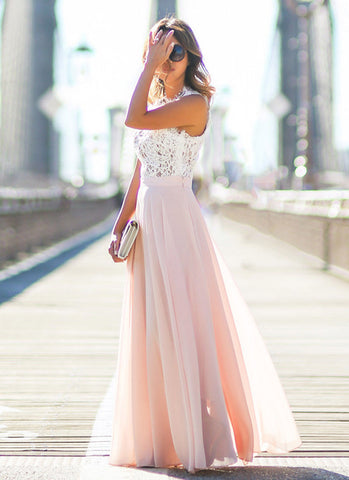 Sleeveless Lace Maxi Dress