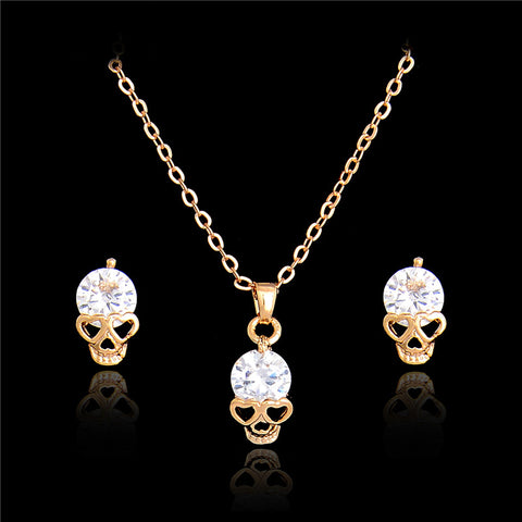 Crystal Skull Earring + Necklace Set