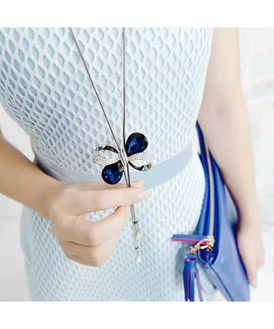 Butterfly Bow Tassel Necklace