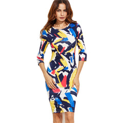 Brush Stroke Pencil Dress