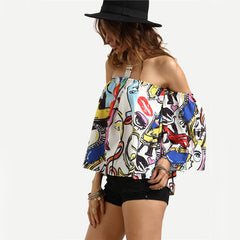 Off the Shoulder Graffiti Top