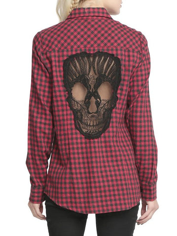Skull Back Plaid Shirt