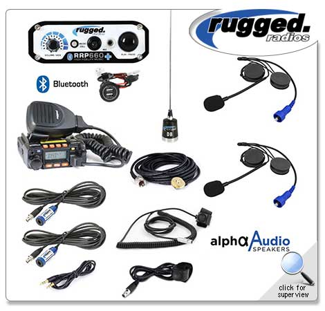 RRP660 PLUS 2-Place Intercom with 25 Watt Radio and Alpha Audio Helmet Kits Rugged Radio