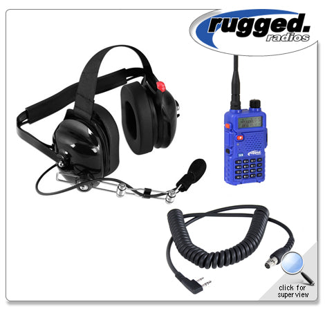VHF/UHF RH-5R 5-Watt Radio and Headset Crew Chief/Spotter Package Rugged Radio