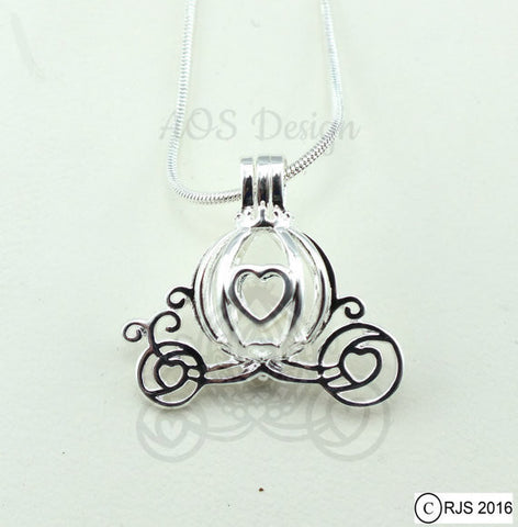 Cinderella Carriage Pearl Cage Heart Silver Charm Necklace  Pick A Pearl or Wish Pearl Epcot Pumpkin Locket