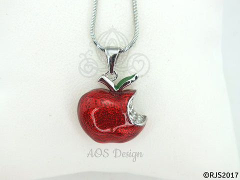 Red Apple Pendant Disney Princess Snow White Red Apple Sterling Silver Pendant Swarovski Crystal Descendants