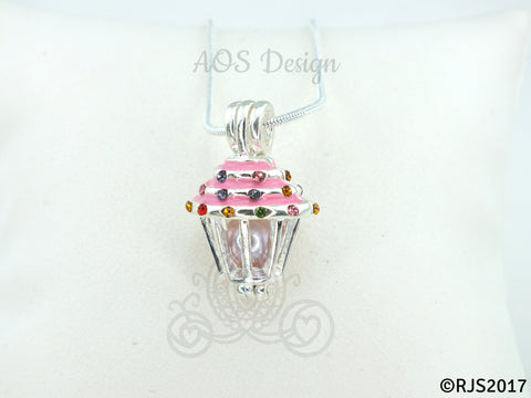 Pink Cupcake Pearl Cage Pick A Pearl Cage Necklace Crystal Accents Silver Plated Locket Charm Cupcake