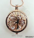 Family Tree Pearl Cage Necklace Rose Gold Plated Locket Charm Tree of Life Mother