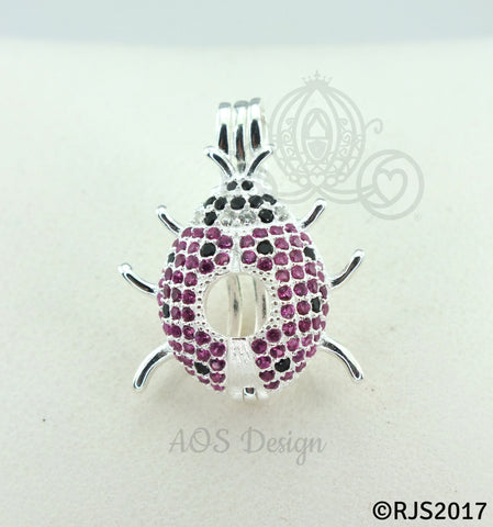 Ladybug Pearl Cage 925 Sterling Silver Locket Crystal Accents Silver Necklace Lady Bug Insect Animal