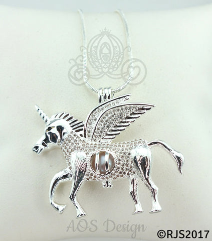 Flying Unicorn Pearl 925 Cage Silver Necklace Pegasus Crystal Pegacorn Alicorn