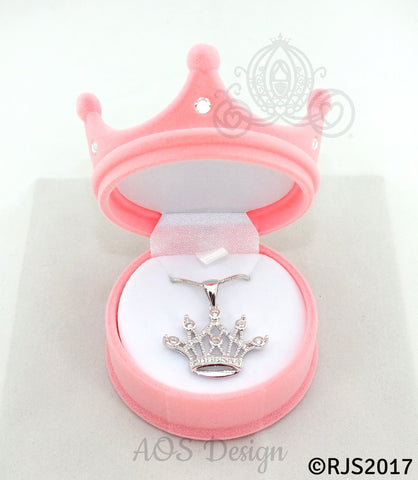 "Princess Tiara Crown Necklace Silver Plated Pendant Crystals 18"" Chain GIFT BOX"