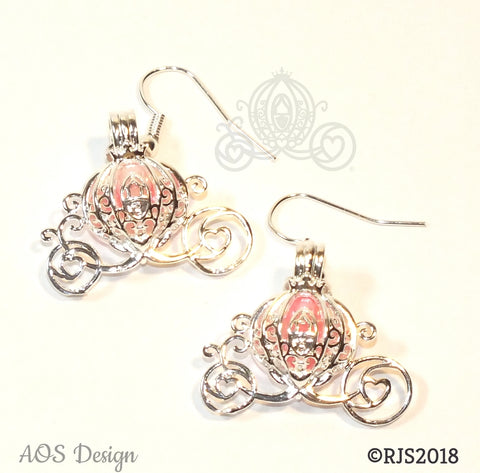 Cinderella Carriage Earrings Pick A Pearl Cage Silver Plated Earrings PINK Bead Pearl Pumpkin Locket Charm