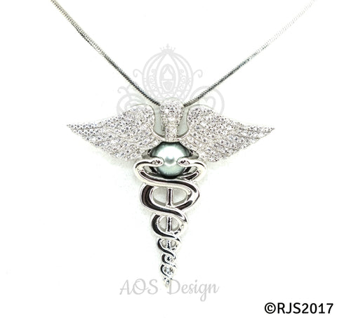 Nurse Caduceus Pearl Cage Silver Necklace Pendant Crystal Snakes Staff of Hermes Doctor Charm