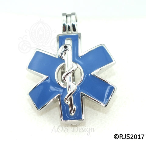 EMS Star of Life Pearl Cage Necklace Emblem Rod of Asclepius Silver Plated Locket Charm