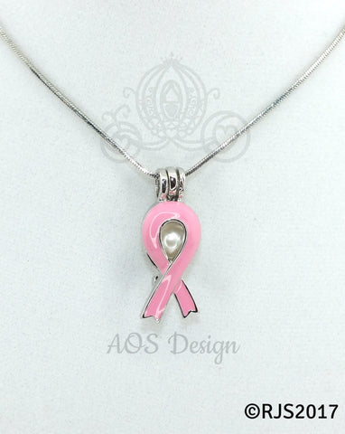 Pink Awareness Ribbon Pearl Cage Necklace Silver Plated Locket Charm Pink Enamel