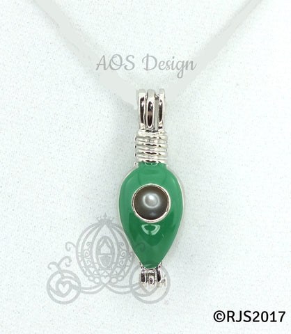 Christmas Green Light Bulb Pearl Cage Necklace Silver Plated Locket Holiday Charm Green Enamel