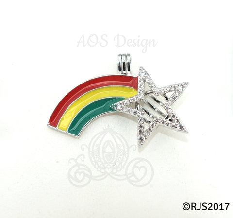 Rainbow Pearl Cage Shooting Star Crystals Locket Charm Pendant Rainbows Necklace