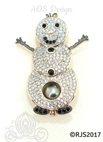 Snowman Pearl Cage 18K Gold Plated Locket Crystals Christmas Holiday Charm Pendant