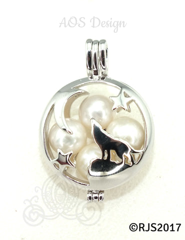 Wolf Howling at the Moon Pearl Cage Locket Charm Pendant Necklace Silhouette Multiple Pearl Holder