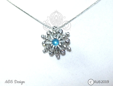 Pearl Cage Snowflake Crystals Silver Locket Frozen Holiday Snow Princess with AQUA PEARL