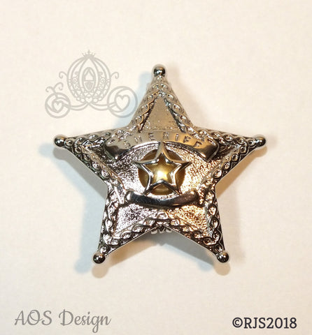 Sheriff Badge Pearl Cage Silver Plated Locket Charm Police Officer Emblem Star