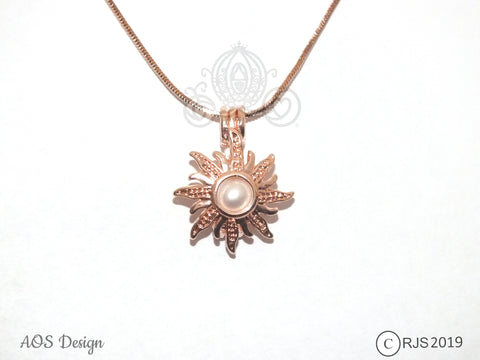 Sun Pick A Pearl Cage Necklace Rose Gold Rapunzel Tangled Sun Charm Holds Pearl Bead Gem Locket