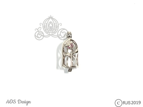 Enchanted Rose Pearl Cage Sterling Silver Locket Crystal Accents Beauty Beast Rose in Bell Jar