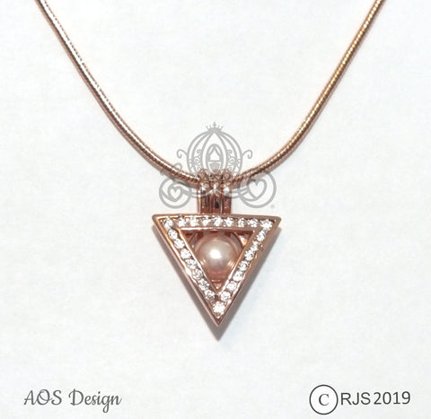Triangle Pearl Cage Necklace Potter Wizard Rose Gold Charm Locket With Cubic Zirconia Stone Accents