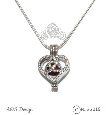 Celtic Knot Heart Pearl Cage Necklace Infinity Knot Charm Locket Cubic Zirconia Stone Accents