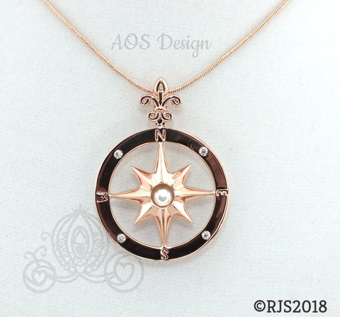 Compass Rose Pick A Pearl Cage Rose Gold Plated Locket Charm Necklace Pirate Ship Sailing Ocean Nautical Compass Charm