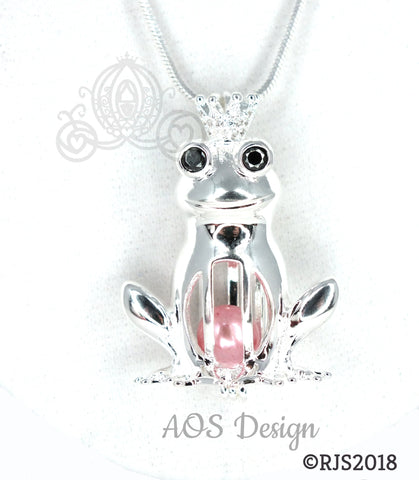 Frog Prince Pearl Cage Necklace Princess Silver Plated Locket Charm Crystals Accents