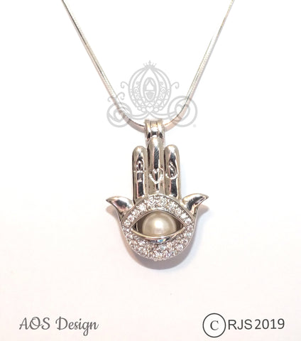 Evil Eye Hand Charm Pick Pearl Cage Silver Necklace Amulet Talisman Hamsa Locket
