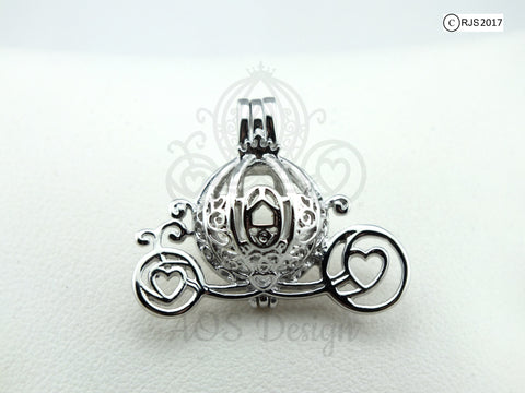 Cinderella Carriage Pearl Cage 925 Sterling Silver Charm Necklace Disney Princess Cinderella Pick A Pearl or Wish Pearl Epcot