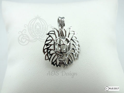 Lion Head Pearl Cage Lion King of the Jungle Silver Plated Locket Charm Necklace