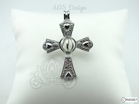 Infinity Cross Pearl Cage Heart Cross Crystal Accents Silver Plated Locket Charm Necklace