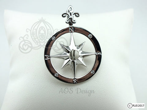 Compass Rose Pick A Pearl Cage Silver Plated Locket Charm Necklace Pirate Ship Sailing Ocean Nautical Compass Charm