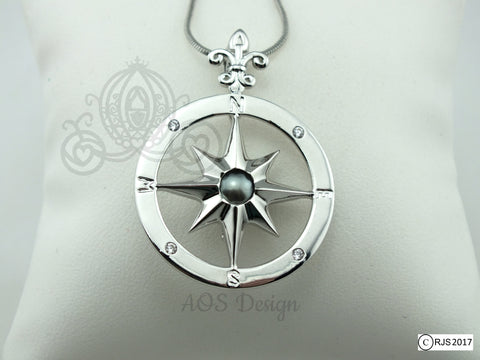 c91a5a172 Compass Rose Pick A Pearl Cage Silver Plated Locket Charm Necklace Pirate  Ship Sailing Ocean Nautical