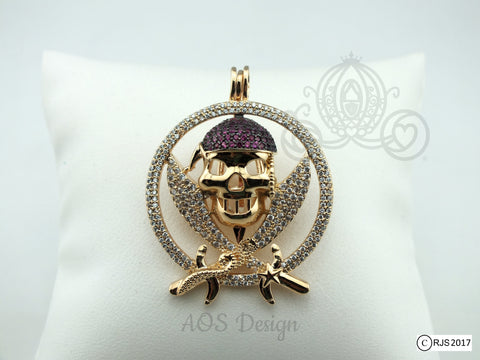 Jolly Roger Pirate Pearl Cage Charm Locket With Swarovski Element Crystals Gold Plated Pendant 14k Gold Chain or Black Cord LE